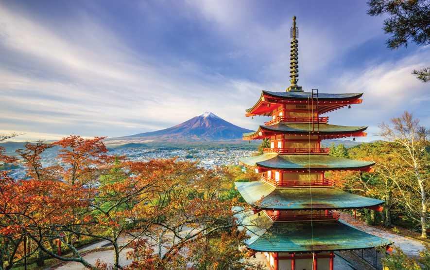 Mt. Fuji with Chureito Pagoda at sunrise Fujiyoshida